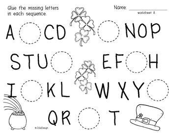 St Patricks Day Letter Order Alphabet Sequence Worksheets