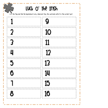"""St. Patrick's Day """"Lift the Flap"""" Consonant Digraph  Literacy Center"""
