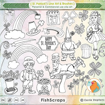 St Patrick's Day Line Art - PNG Digital Stamps + PS Brushes - Rainbows, Clover