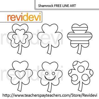 St. Patrick's Day Line art FREE - Shamrock coloring clip art