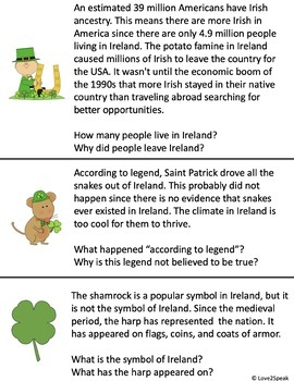 St. Patrick's Day Listening Comprehension, Short Term Recall and WH Questions
