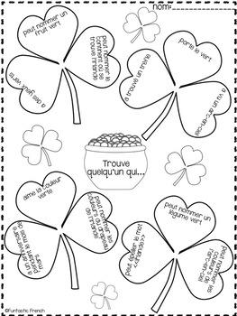 St. Patrick's Day Literacy Activities in French Le jour de la Saint Patrick