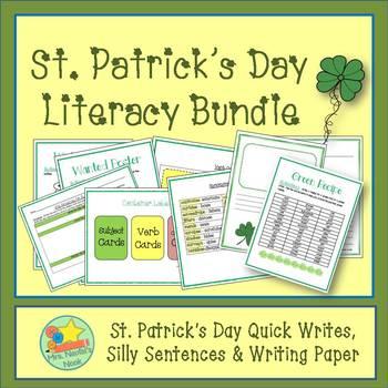 St. Patrick's Day Literacy Bundle - Writing Tasks, Word Wo