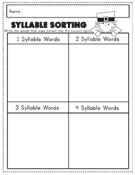 St. Patricks Day Literacy Center: Pot O' Gold Syllable Sorting