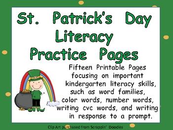 St. Patrick's Day Literacy Practice Kindergarten- variety of skills