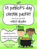 St. Patrick's Day Literacy and Math Centers for First Grade