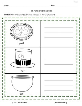 St. Patrick's Day Literacy and Math Unit