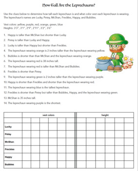 St Patrick's Day Logic Puzzle - Great for Critical Thinking Skills!