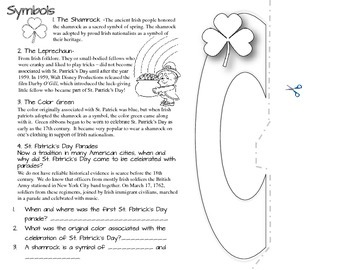 "FREE ST. PATRICK'S DAY, ""LUCK"": READING INFORMATIONAL TEXT- FLIP BOOK"