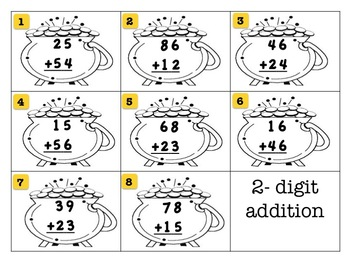 St. Patrick's Day Lucky 2-digit Addition