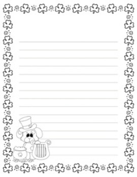 St. Patrick's Day Lucky Dog Writing Paper - 3 Styles - Black and White