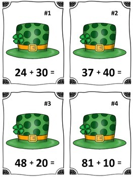 St. Patrick's Day Lucky Hat Addition Math Center (Common Core)