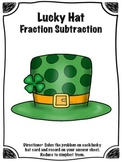 St. Patrick's Day Lucky Hat Fraction Subtraction Math Cent