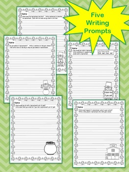 St. Patrick's Day Writing Activities: Lucky Leprechaun's Writing Prompts No Prep