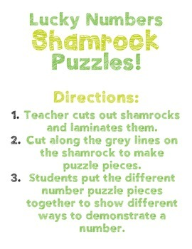 St. Patrick's Day Lucky Number Shamrock Puzzles