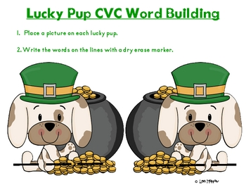 St. Patrick's Day Lucky Pup CVC Word Building