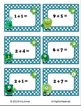St. Patrick's Day  MONSTER Two-Digit & One-Digit Addition Task Cards