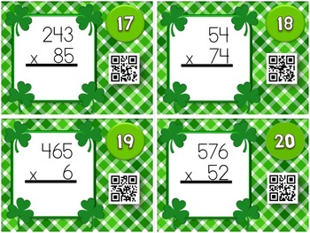St. Patrick's Day MULTIPLICATION QR Code Task Card Fun