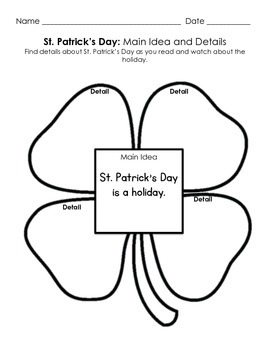St. Patrick's Day Main Idea and Detail