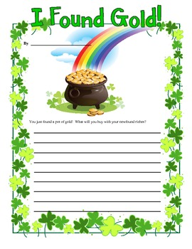 St. Patrick's Day March I Found Gold Writing Prompt