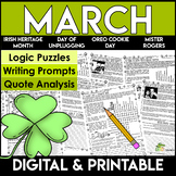 March Reading Comprehension   Writing Prompts   Literacy Centers   Logic Puzzles