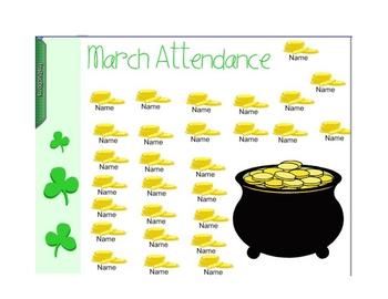 St. Patrick's Day / March Smartboard Attendance
