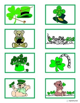 """""""St. Patrick's Day Match"""" Color to Black n White for Autism"""