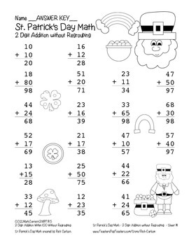 """""""St. Patrick's Day Math"""" 2 Digit Addition No Regrouping Common Core (blackline )"""