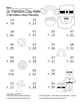 """St. Patrick's Day Math"" 2 Digit Addition No Regrouping Common Core (blackline )"