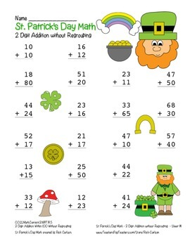 """""""St. Patrick's Day Math"""" 2 Digit Addition No Regrouping  (color & black line)"""
