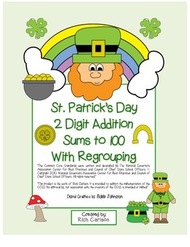 """St. Patrick's Day Math"" 2 Digit Addition Regroup Common C"