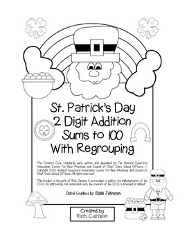 """St. Patrick's Day Math"" 2 Digit Addition Regrouping - Common Core! (blackline )"