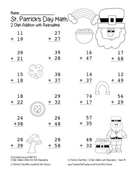 """""""St. Patrick's Day Math"""" 2 Digit Addition Regrouping - Common Core! (blackline )"""