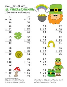 """""""St. Patrick's Day Math"""" 2 Digit Addition With Regrouping - Common Core! (color)"""