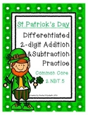 St. Patrick's Day Math 2-Digit Addition and Subtraction Practice{CCSS 2.NBT.B.5}