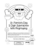 """St. Patrick's Day Math"" 2 Digit Subtraction With Regrouping! (black line)"