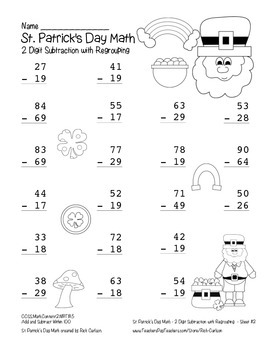 """""""St. Patrick's Day Math"""" 2 Digit Subtraction With Regrouping! (black line)"""