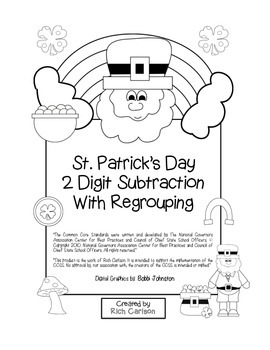 """St. Patrick's Day Math"" 2 Digit Subtraction With Regroupi"