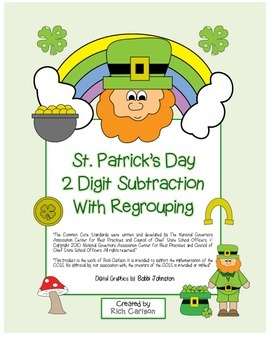 "St. Patrick's Day Math"" 2 Digit Subtraction With Regrouping! (color & blackline)"