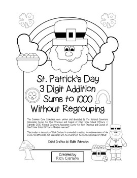 """St. Patrick's Day Math"" 3 Digit Addition No Regrouping Common Core (black line)"