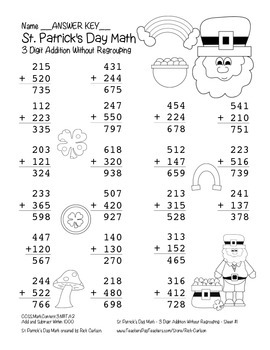 """""""St. Patrick's Day Math"""" 3 Digit Addition No Regrouping Common Core (black line)"""