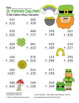 """St. Patrick's Day Math"" 3 Digit Addition No Regrouping - Common Core (color)"