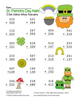 """""""St. Patrick's Day Math"""" 3 Digit Addition No Regrouping - Common Core (color)"""