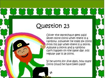St Patricks Day Math Activities Worded Problems 3rd 4th