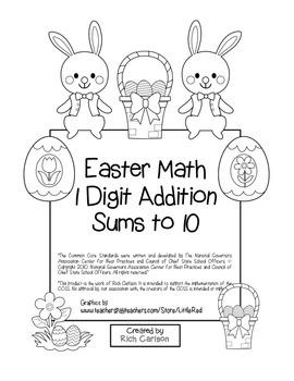 "St. Patrick's Day Math"" Add Within 10 - Common Core - Addition Fun! (black line)"