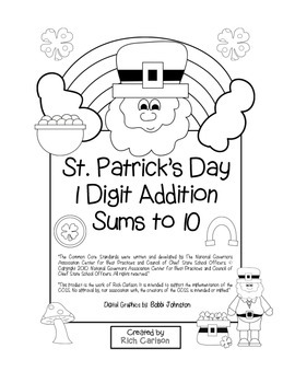 """St. Patrick's Day Math"" Add Within 10 - Common Core - Fun! (black line)"