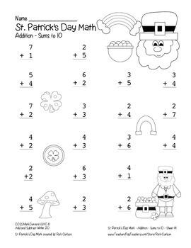 """St. Patrick's Day Math"" Add Within 10 - Common Core - Fun! (black line)"