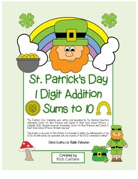"St. Patrick's Day Math"" Add Within 10 - Common Core - Fun! (color & black line)"
