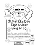 """St. Patrick's Day Math"" Add Within 20 - Common Core - Fun! (black line)"