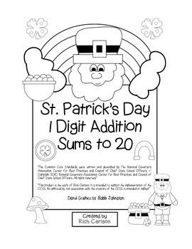 """St. Patrick's Day Math"" Add Within 20 - Common Core - Fun"